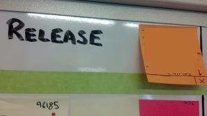 Example: a policy card on a Kanban board with a reminder to mark lead time